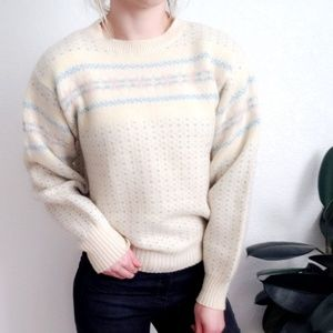 80-90s Vintage Chunky Pastel Striped Wool Sweater
